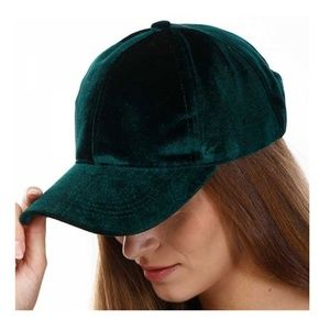 Tigerstars Hunter Green Luxe Velvet Statement Cap